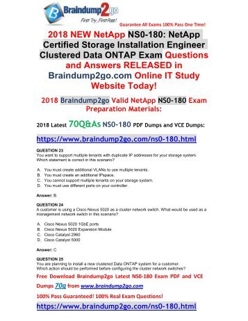 2018 Braindump2go New NetApp NS0-180 VCE and NS0-18 PDF Dumps Free Share(23-33)