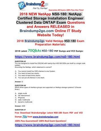 2018 Braindump2go New NetApp NS0-180 PDF and VCE Dumps Free Share(45-55)