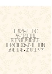 How to Write Research Proposal in 2018-2019