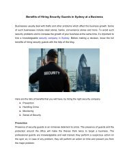 Benefits of Hiring Security Guards in Sydney at a Business