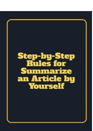 Step-by-Step Rules for Summarize an Article by Yourself