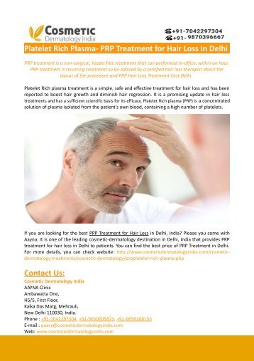 Platelet Rich Plasma- PRP Treatment for Hair Loss In Delhi