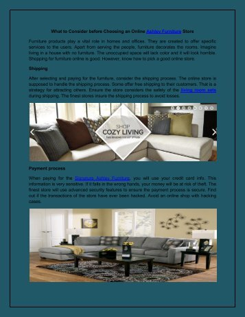 What To Consider Before Choosing An Online Ashley Furniture Store