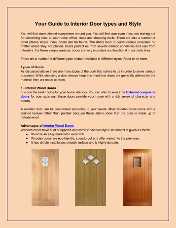 Your Guide to Interior Door types and Style