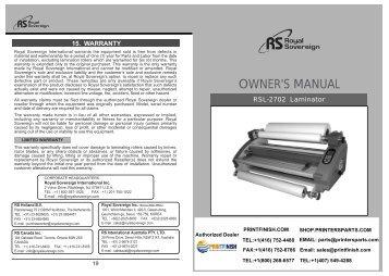 Royal Sovereign RSL-2702S Hot Cold Roll Laminator Machine - PrintFinish.com