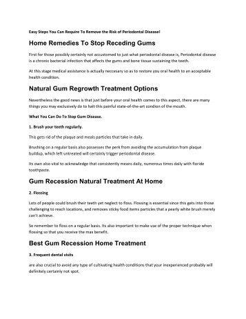 Gum Recession Natural Treatment At Home
