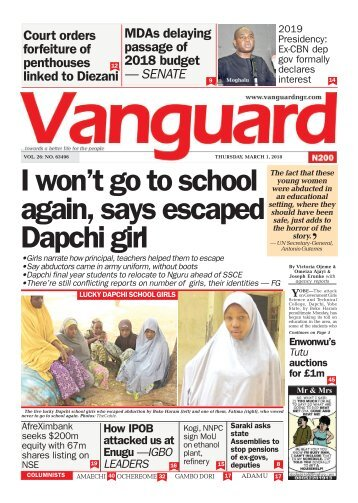 01032018 - I won't go to school again, says escaped Dapchi girl