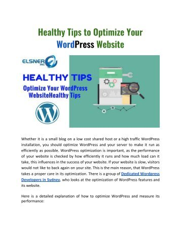 Healthy Tips to Optimize Your WordPress Website