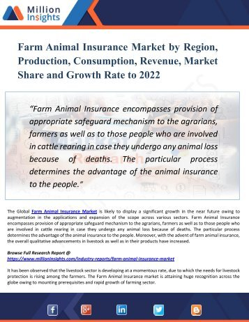 Farm Animal Insurance Market by Region, Production, Consumption, Revenue, Market Share and Growth Rate to 2022