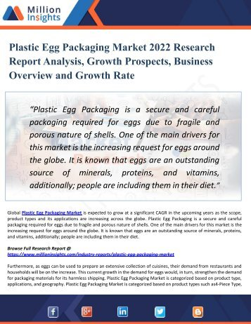 Plastic Egg Packaging Market 2022 Research Report Analysis, Growth Prospects, Business Overview and Growth Rate