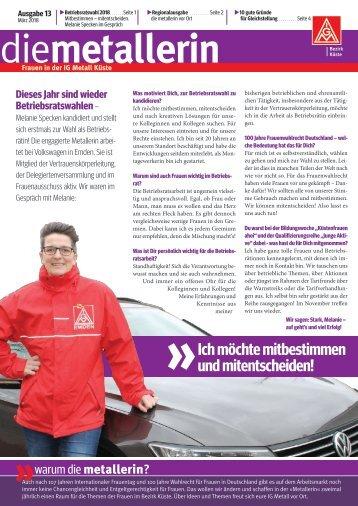 die metallerin 13 - Regionalausgabe Oldenburg-Wilhelmshaven
