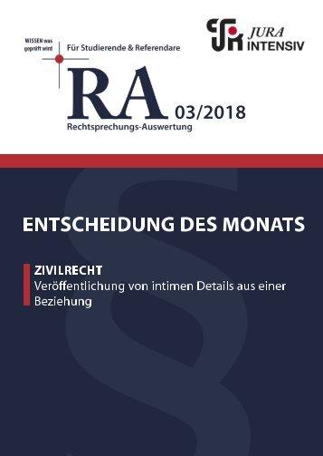 RA 03/2018 - Entscheidung des Monats