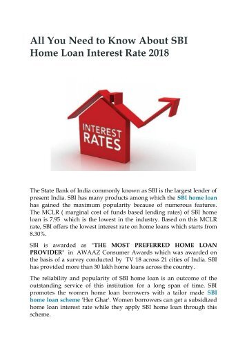 All You Need to Know About SBI Home Loan Interest Rate 2018
