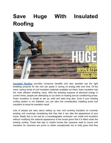 Know How Insulated Roofing can help you save money?