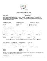 Summer Registration Form 2018