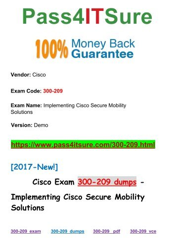 [2018 New] New Pass4itsure Cisco-300-209 Dumps PDF