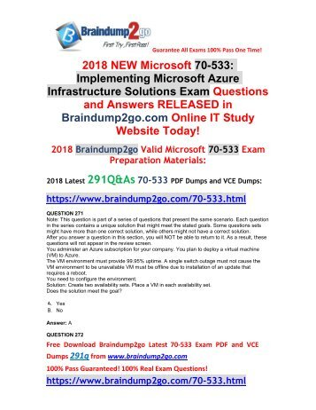 (2018-3-1)Braindump2go New 70-533 PDF and 70-533 VCE Dumps 291Q&As Free Share(271-282)