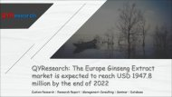 QYResearch: The Europe Ginseng Extract market is expected to reach USD 1947.8 million by the end of 2022