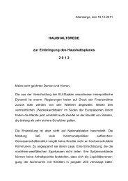 Die Eckdaten des Haushaltes 2012 - CDU Altenberge