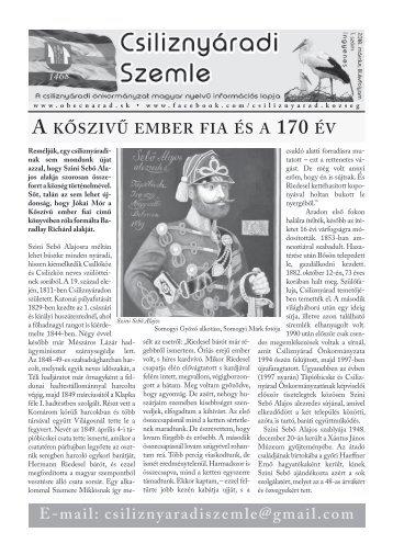Csiliznyáradi Szemle - Csiliznyárad község információs lapja - 2018. február, 3. évfolyam, 1.szám