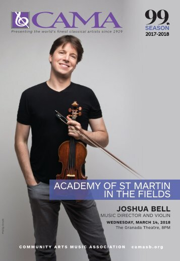 CAMA presents Academy of St Martin in the Fields with Joshua Bell / Wednesday, March 14, 2018, International Series at The Granada Theatre, 8:00 PM