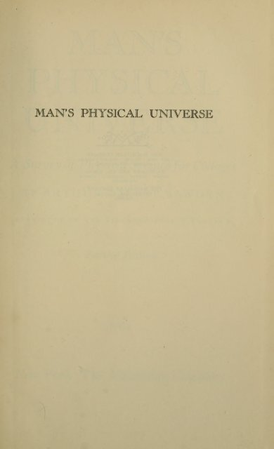 Man's physical universe