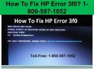 Call +1-800-597-1052 Fix HP Error 3f0 | For HP Help