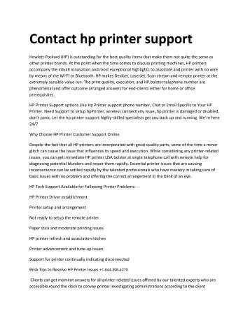 Contact Hp – Printer Support