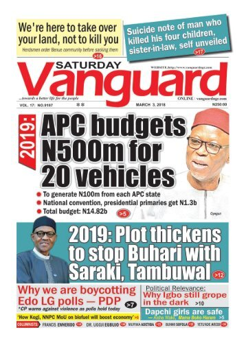 03032018 - APC budgets N500m for 20 vehicles