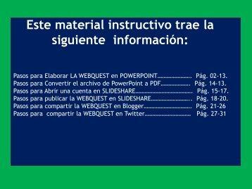 Instrucciones para la WebQuest Uso de las TICs UNESR marzo 2018