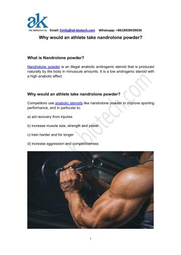 Why would an athlete take nandrolone powder?