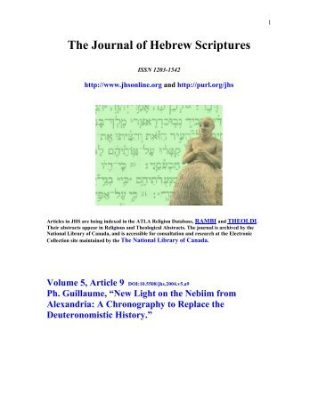 New Light on the Nebiim from Alexandria - Journal of Hebrew ...