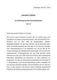 Die Eckdaten des Haushaltes 2013 - Gemeinde Altenberge