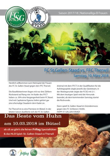 Matchblatt NLB FCSG STAAD vs Therwil