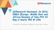 QYResearch Reviewed: In 2016, EMEA (Europe, Middle East and Africa) Revenue of Non-PVC IV Bag is nearly 452 M USD