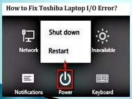 Fix Toshiba Laptop I/O Error? Dial +1-800-256-0160 Helpline