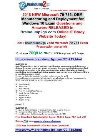 2018 Braindump2go New 70-735 Dumps with PDF and VCE Free Sharee(23-33)