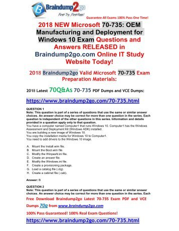 2018 Braindump2go New 70-735 PDF and 70-735 VCE Dumps Free Share(1-11)