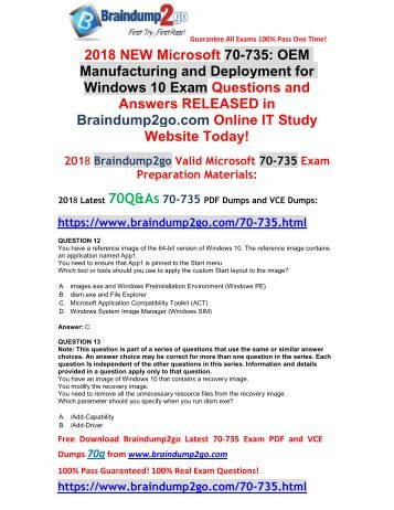 2018 Braindump2go New 70-735 VCE and 70-735 PDF Dumps Free Share(12-22)