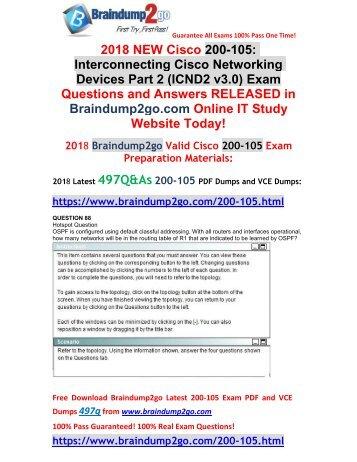 2018 Braindump2go New 200-105 PDF and 200-105 VCE Dumps Free Share(88-98)