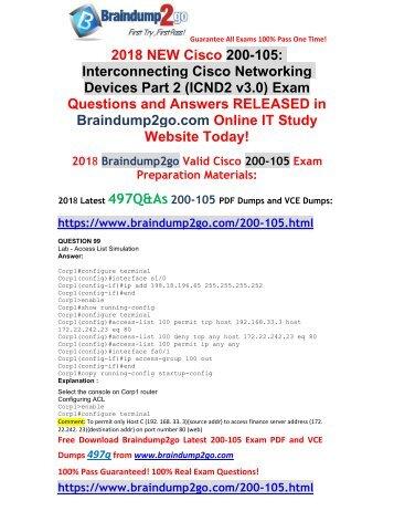2018 Braindump2go New 200-105 PDF Dumps Free Share(99-109)