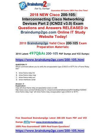 2018 Braindump2go New 200-105 VCE and 200-105 PDF Dumps Free Share(77-87)
