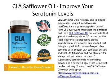 CLA Safflower Oil - Improve Your Serotonin Levels