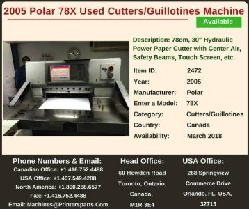 Buy Used 2005 Polar 78X Cutters/Guillotines Machine