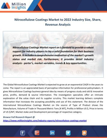 Nitrocellulose Coatings Market to 2022 Industry Size, Share, Revenue Analysis
