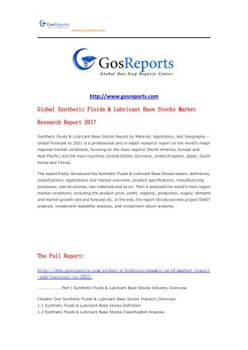 Global Synthetic Fluids & Lubricant Base Stocks Market Research Report 2017