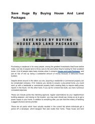 House and Land Package your Money Saver