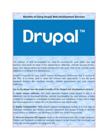Benefits of Using Drupal Web Development Services