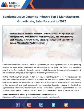 Semiconductive Ceramics Industry Top 5 Manufacturers, Growth rate, Sales Forecast to 2022