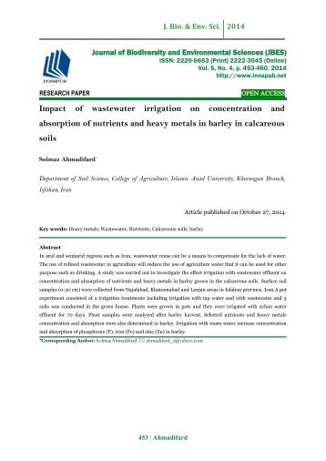 Impact of wastewater irrigation on concentration and absorption of nutrients and heavy metals in barley in calcareous soils